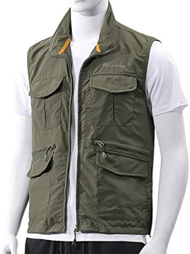 メンズアウトドア春、夏と秋の薄いセクションベスト写真釣り綿マルチポケット中年男性のベストツーリングベスト (色 : Army green color, サイズ さいず : Xl xl)