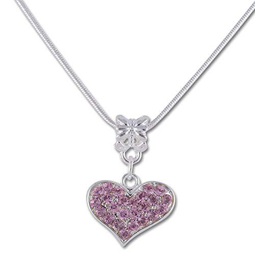 SmitCo LLC Cute Necklace For Teen Girls - Silver Tone Heart Necklace with Pink Rhinestones For Kids (Christmas Party Ideas For Teens)