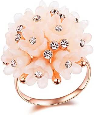 Redbarry Vintage Acrylic Resin Cluster Inlays 22.5mm Flower Rings for Women, Size 5.5 to 9