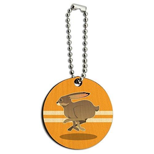 Jackrabbit Running Racing Wood Wooden Round Keychain Key Chain Ring