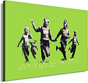 Banksy Graffiti Street Art 1314. Size 100x70x2cm(l/h/w). Canvas On Wooden Frame. Made In Germany.