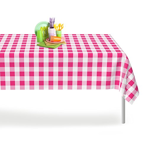 Gingham Table (Pink Checkered Gingham 6 Pack Premium Disposable Plastic Tablecloth 54 Inch. x 108 Inch. Rectangle Table Cover By Grandipity)