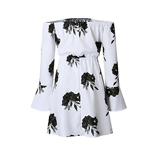 SKY Celebrate for the Prime Day !!! Mujeres La Sra vestido estampado sin tirantes de manga larga Off Shoulder Floral Printed Long Sleeve Beach Dress With Belt Item specifics Negro
