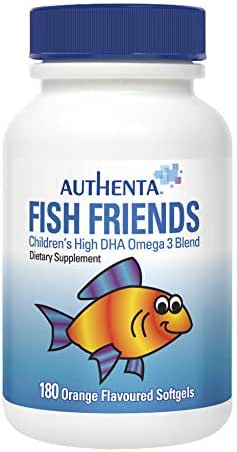 Authenta Fish Friends - Children's High DHA Omega 3 Fish Oil (to Support Cognitive Development) - 180 Orange Flavored Chewable Pills for Toddlers and Kids (5-Star IFOS Rating, 3 Month Supply)