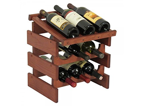 Buy wooden mallet 9-bottles wine rack with display top
