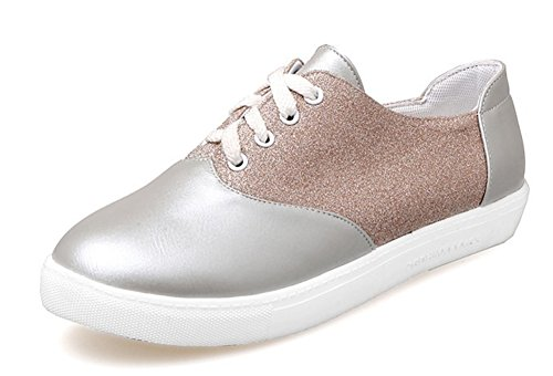 Aisun Women' Cute Lace Up Sequins Sneakers Silver jW9wdHZ82f