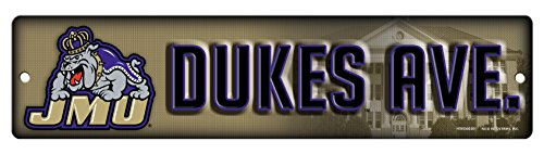 Yellow Road Sign - NCAA James Madison Dukes 16-Inch Plastic Street Sign Décor