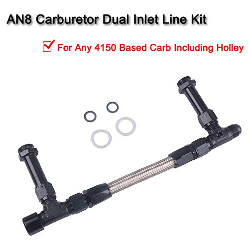 4150 Braided Dual Feed Fuel Line Kit,8 AN Male Flare To 7//8 Braided Stainless Steel Carburetor Dual Inlet Line Kit for Holley 4150