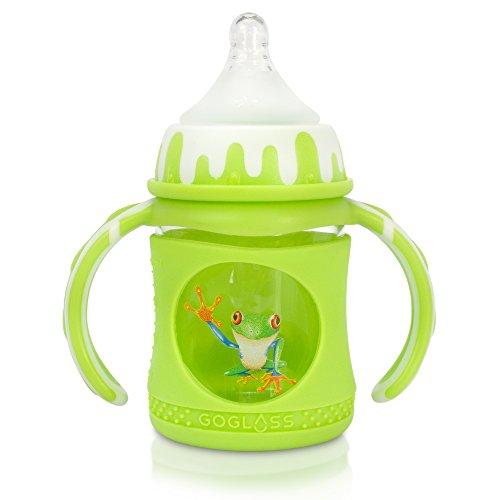 GoGlass Glass Baby Bottle 4 oz, Full Silicone Sleeve, 2 Nipp