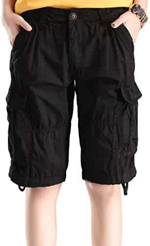 d17fbdbac76 HOW ON Women s Cotton Casual Relaxed Fit Plus Size Multi-Pockets Bermuda  Cargo Shorts