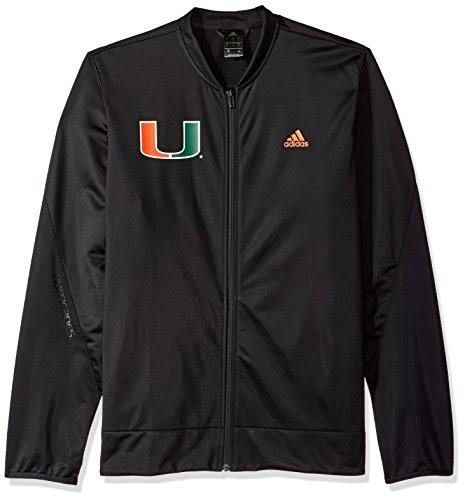 adidas NCAA Miami Hurricanes Mens On Court Warm-Up Jacketon Court Warm-Up Jacket, Black, Large