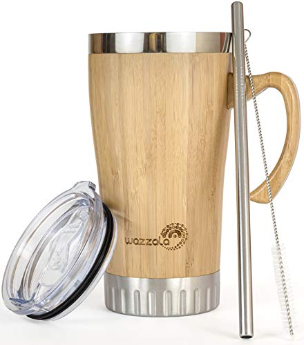 (Bamboo Travel Mug with Handle - Leak Proof Lid, Eco-Friendly Tumbler   Stainless Steel Straw Included   Coffee or Tea Insulated, Splash Proof Cup   16 Oz )