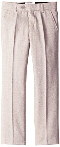 Isaac Mizrahi Big Boys' Slim Stripe Tweed Pant, Tan, 12 - Tan Wool Tweed