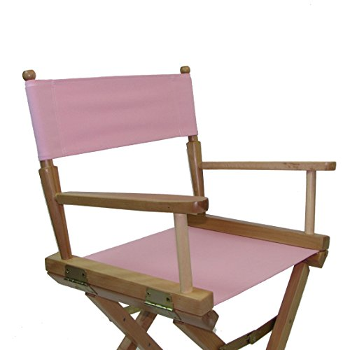 PERSONALIZED IMPRINTED Gold Medal Contemporary 24'' Counter Height Natural Frame Directors Chair - Light Pink by TLT