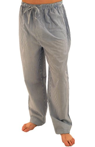 Del Rossa Men's 100% Cotton Pajama Bottoms - Sleep Pants, Small Blue and White Striped (A0556P02SM)
