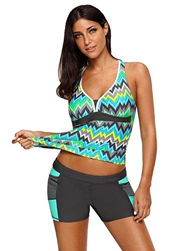 Womens Boyshort 2 Piece Swimsuit (luvamia Women's Racerback Chevron Print Tankini Set With Boyshort Two Piece Swimsuit Beachwear Size Medium (US 8-10))