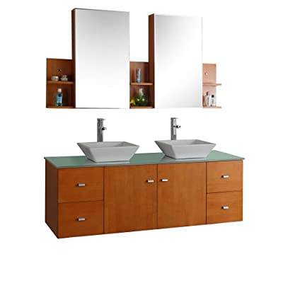 Virtu USA MD-415-G-HO Clarissa 72-Inch Wall-Mounted Double Sink Bathroom Vanity Set with Mirrored Cabinets, Honey Oak Finish - Double vanity with honey oak finish, Brushed nickel hardware, Tempered glass countertop, White designer ceramic basins Solid oak construction, Finished with quality 7-layer coating system Two doors and four drawers featuring European sliders and soft-closing hinges, Two mirrored medicine cabinets with attached side shelves - bathroom-vanities, bathroom-fixtures-hardware, bathroom - 417c2jZvCSL. SS400  -