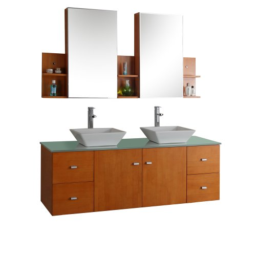 Virtu Usa Md 415 G Ho Clarissa 72 Inch Wall Mounted Double Sink Bathroom Vanity Set With Mirrored Cabinets  Honey Oak Finish