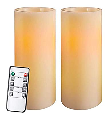 Homemory Flameless LED Real Wax Pillar Candles, Ivory, Battery Powered Faux Candle for Church, Retreat, Votive