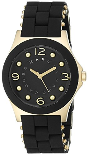 Marc by Marc Jacobs Women's MBM2540 Pelly Gold-Tone Stainless Steel and Black Silicone Watch