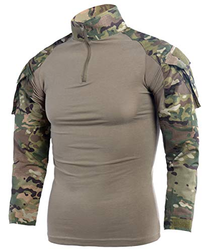 LANBAOSI Mens Ripstop Tactical Shirt Long Sleeve Combat Shirt Multicam Military T Shirts Airsoft Hunting Woodland