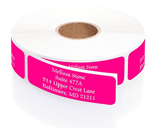 Pink Colored Personalized Address Labels with White Print and Elegant Plastic Dispenser - Roll of 500 (Pink Mailing Labels)
