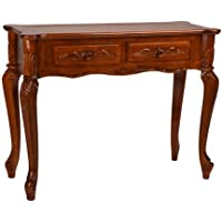 International Caravan 3808-IC Furniture Piece Carved Wood 2 Drawer Queen Anne Hall Table