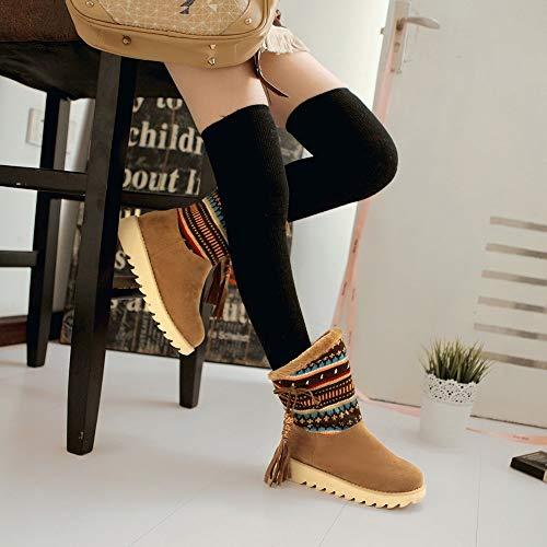 De Bottes Glands Rond Chaussures Hiver Chaussure Chaud Chaudes Jaune Nouveau Femmes Femme Bout Automne Chic Coupon Rétro Vouchers 2018 Neige À Pour 8aaSzRq