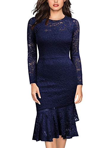 Miusol Women's Retro Floral Lace Long Sleeve Wedding Bridesmaid Dress,X-Large,B-Navy Blue