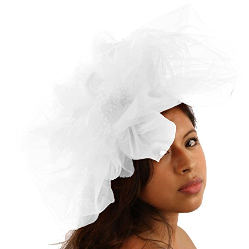 Big Tulle Mesh Feathers Fishnet Headband Fascinator Bridal Cocktail Hat White by SK Hat shop