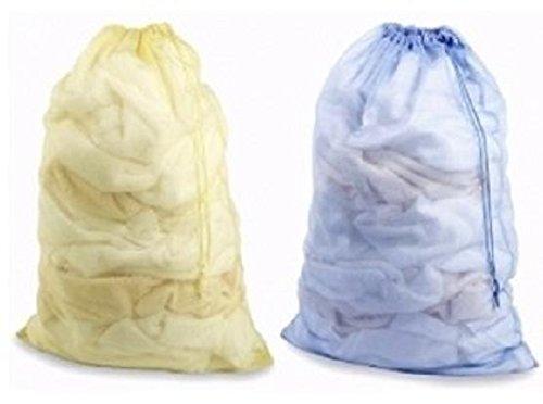 2 Pack Nylon Mesh Laundry Bags Sport Bags Random Colors Shipped