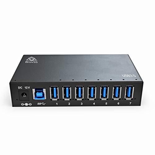 BrovSS - 7 Port USB 3 Splitter - USB 3.0 Powered Hub - USB Hub Charger with 12V 3A 36W Power Adapter from BrovSS