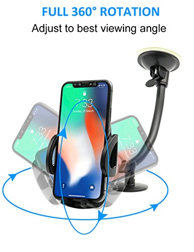 EXSHOW Car Mount,Universal Windshield Dashboard 8.5 inch Long Arm Car Phone Mount for iPhone X/8/7/6S/6 Plus/5S/5, Samsung Galaxy S6 S5, Nexus 5X/6P, LG, HTC and All Smartphones 3.5-6 inch(Black) by EXSHOW (Image #4)