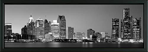 Easy Art Prints Panoramic Images's 'Night, Detroit, Michigan, USA' Premium Framed Canvas Art - 36