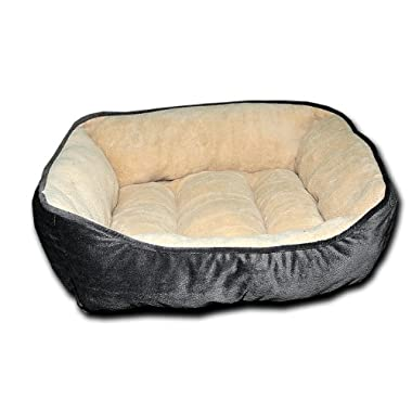HappyCare Textiles HCT REC-002 Luxury Embossed Rectangle Micro Mink Dog and Pet Bed, Large, Burn Out Grey