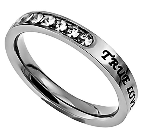 K2 True Love Waits Stainless Steel Engagement Purity Band Ring Abstinence (7) by Christian Rings (Image #1)'