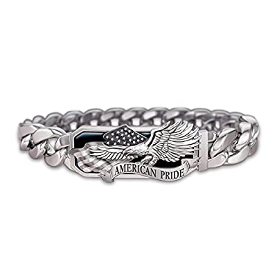 American Pride God Bless America Stainless Steel Men's Bracelet by The Bradford Exchange