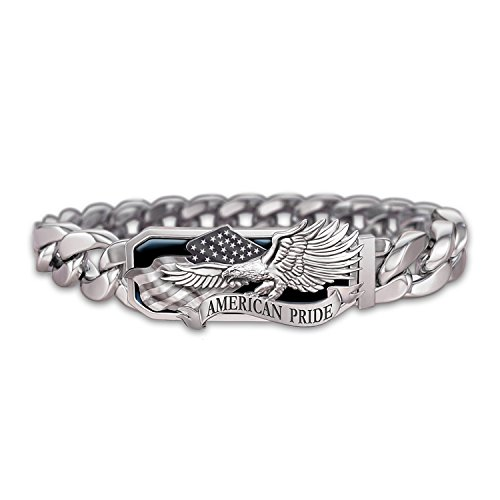 American Pride God Bless America Stainless Steel Men's Bracelet by The Bradford Exchange