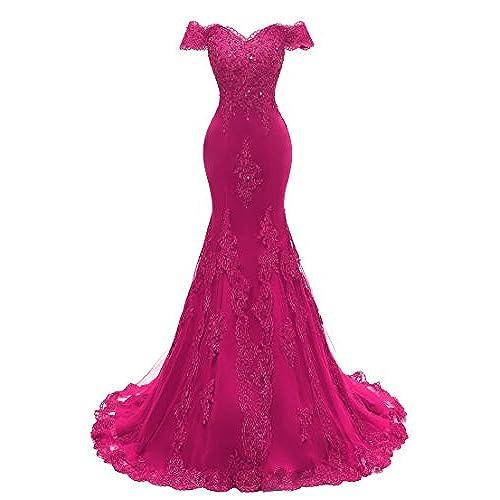 Himoda Womens V Neckline Beaded Evening Gowns Mermaid Lace Prom Dresses Long H074 12 Fuchsia