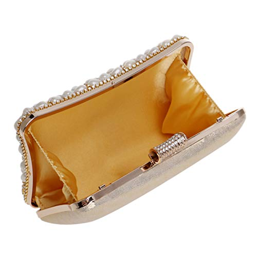 Be Clutch Wristlets Used Rhinestones Gold Women Annual Evening Ladies Cocktail Dress For Can Bag Nightclubs Banquet Banquets Parties Pearl Events 4vxq75