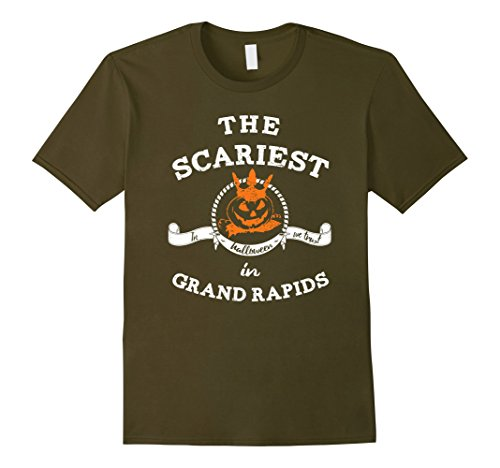 Mens The Scariest Pumpkin In Grand Rapids Halloween T-Shirt Funny Small Olive