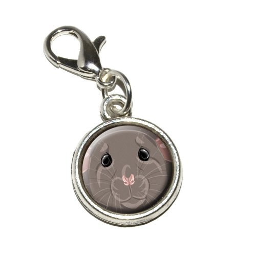 Dumbo Rat - Graphics and More Dumbo Rat Pet Mouse Rodent Antiqued Bracelet Pendant Zipper Pull Charm with Lobster Clasp