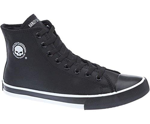 Harley Davidson Baxter Moto Hombre Zapatos Alto Sneaker Negro Blanco Piel Cuero