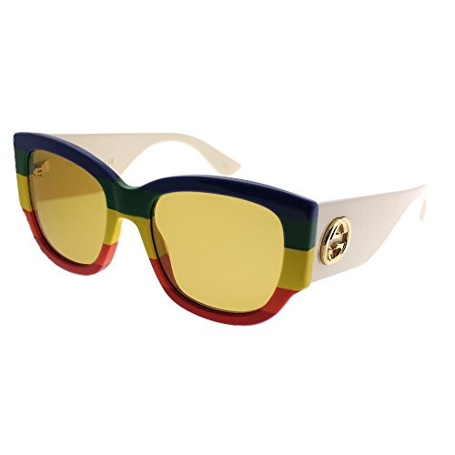Gucci GG 0276S 006 Blue Green Yelow Red Plastic Square Sunglasses Brown ()