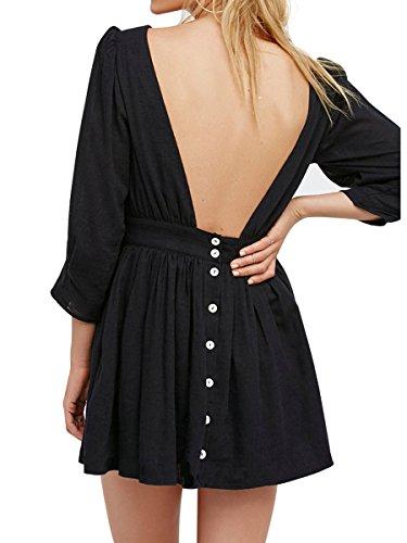 Mode Ca Femmes Mince Bal En Forme De Cocktail Tunique Dos Nu Courte Robe Noire