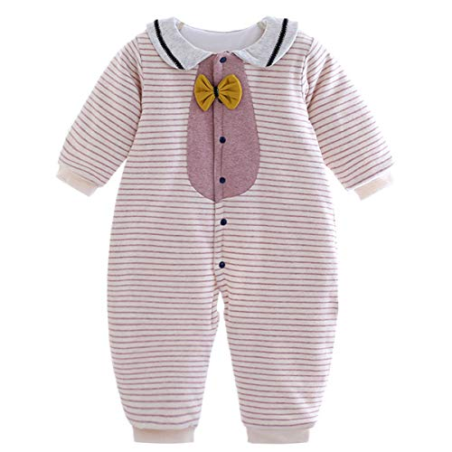 (iPurply Baby Girls Boys Toddlers Kids Doll Collar Striped Long Sleeve Cotton Coat Rompers Playsuits Outfits 0-3 Years)