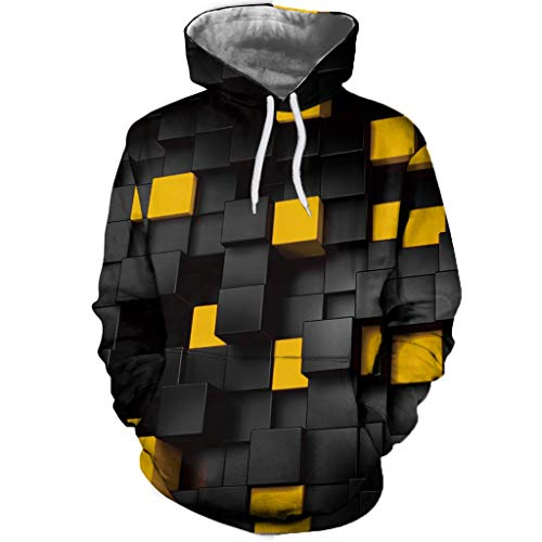 YAYUMI Men's Casual Funnel Neck Square Pattern Quilted Hoodie Pullover Sweatshirt ()