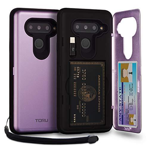 TORU CX PRO LG V40 ThinQ Wallet Case Purple with Hidden Credit Card Holder ID Slot Hard Cover, Strap, Mirror & USB Adapter for LG V40 / LG V40 ThinQ (2018) - Lavender