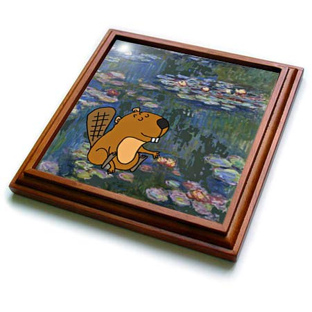 - 3dRose All Smiles Art - Funny - Funny Cute Beaver in Monet Water lilies Art - 8x8 Trivet with 6x6 ceramic tile (trv_317013_1)