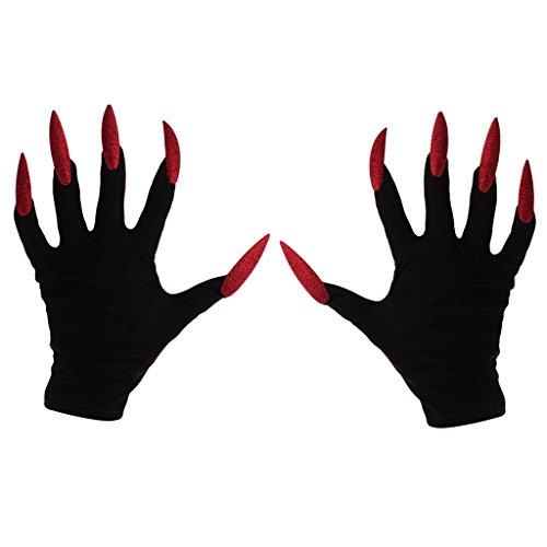 Jili Online Scary Devil Gloves with Red Glitter Nails Halloween Party Women Fancy Dress -